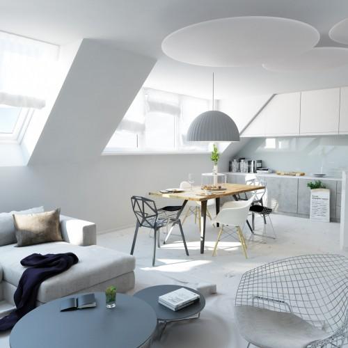 mansarde render livingroom
